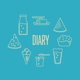 Bandera de la lechería con la composición de los productos lácteos stock de ilustración