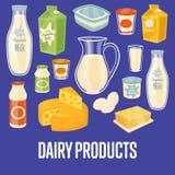 Bandera de la lechería con los iconos naturales de la comida stock de ilustración