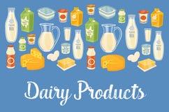 Bandera de la lechería con los iconos naturales de la comida ilustración del vector