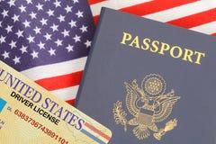 Bandera de la licencia del pasaporte imagen de archivo libre de regalías