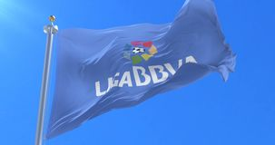 Bandera de la liga española del fútbol del fútbol, liga de BBVA, agitando bucle