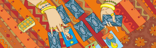 Bandera de la mano de la lectura de la carta de tarot Imagen de archivo