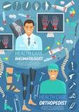Bandera de la medicina de la ortopedia y de la reumatología libre illustration