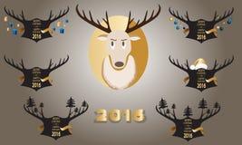 Bandera de la Navidad con cuernos y un ciervo en un fondo negro Fotos de archivo