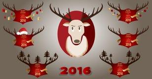 Bandera de la Navidad con cuernos y un reno en un fondo rojo Fotografía de archivo