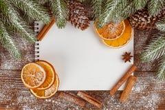 Bandera de la Navidad con el árbol verde, los conos, las decoraciones hechas a mano del fieltro, la naranja y el canela en el fon Fotos de archivo libres de regalías