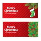 Bandera de la Navidad con el fondo rojo Imágenes de archivo libres de regalías