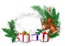 Bandera de la Navidad con la guirnalda, los regalos y la ardilla del abeto libre illustration