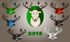 Bandera de la Navidad con los cuernos, el árbol de navidad y los ciervos Imagenes de archivo