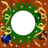 Bandera de la Navidad con nieve en fondo de madera Imagen de archivo libre de regalías