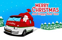 Bandera de la Navidad con vector del fondo de Papá Noel Santa Claus está conduciendo el coche ilustración del vector
