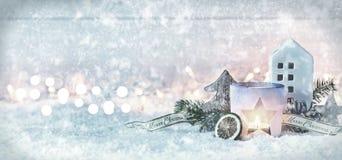 Bandera de la Navidad del invierno con los copos de nieve Imagen de archivo libre de regalías