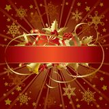 Bandera de la Navidad del oro Foto de archivo libre de regalías