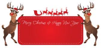 Bandera de la Navidad del reno de Rudolph ilustración del vector
