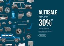 Bandera de la oferta especial de Autosale Ejemplo del vector del descuento del servicio del coche Detalle del coche, reparación,  ilustración del vector