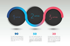 Bandera de la opción del vector de Infographic con 3 pasos Esferas del color, bolas, burbujas Fotos de archivo