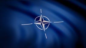 Bandera de la OTAN Primer de la animación de la lona que agita de la tela azul con el símbolo blanco en el centro Símbolo con el  ilustración del vector