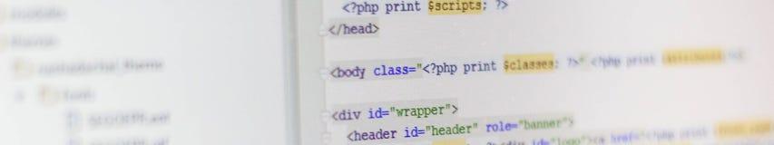 Bandera de la pantalla abstracta programada del código del desarrollador de software fotos de archivo libres de regalías