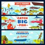 Bandera de la pesca con el pescador, los pescados, la barra y el gancho libre illustration
