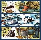 Bandera de la pesca con los trastos y los pescados del pescador libre illustration