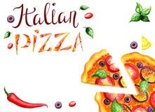 Bandera de la pizza Foto de archivo