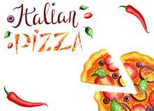 Bandera de la pizza stock de ilustración