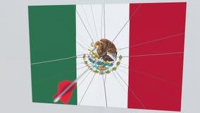 Bandera de la placa de MÉXICO que es golpeada por la flecha del tiro al arco Animación conceptual 3D stock de ilustración