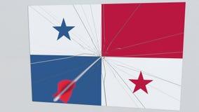 Bandera de la placa de PANAMÁ que es golpeada por la flecha del tiro al arco Animación conceptual 3D libre illustration