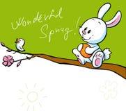 Bandera de la primavera con el pájaro del canto y el conejito de pascua del blanco Fotos de archivo libres de regalías