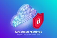 Bandera de la protecci?n de almacenamiento de datos stock de ilustración