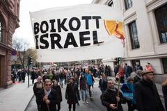 Bandera de la protesta de Palestina: Boicoteo Israel Fotografía de archivo