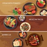 Bandera de la red alimentaria de la calle, filete, tacos, barbacoa