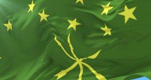 Bandera de la república de Adygea que agita en el viento en el cielo azul, lazo