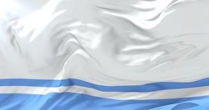 Bandera de la república de Altai que agita en el viento con el cielo azul, lazo