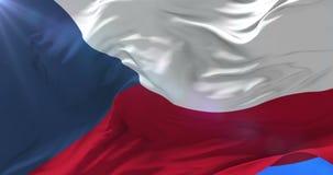 Bandera de la República Checa que agita en el viento, lazo