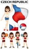 Bandera de la República Checa y muchos deportes Imagen de archivo
