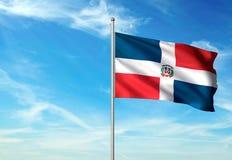 Bandera de la República Dominicana que agita con el cielo en el ejemplo realista 3d del fondo stock de ilustración