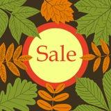 Bandera de la ronda de venta del otoño con la hoja libre illustration