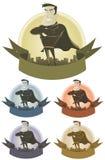 Bandera de la seguridad del super héroe del vintage Fotografía de archivo libre de regalías