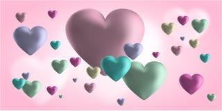 Bandera de la tarjeta del día de San Valentín del amor o tarjeta de felicitación linda Lugar para su texto Imagen de archivo libre de regalías