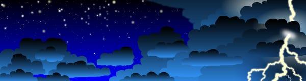 Bandera de la tempestad de truenos de la noche Fotografía de archivo