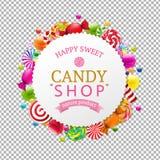 Bandera de la tienda del caramelo ilustración del vector