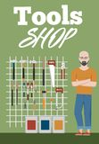 Bandera de la tienda de las herramientas con los instrumentos Foto de archivo