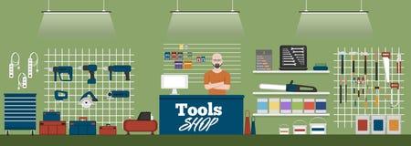 Bandera de la tienda de las herramientas con los instrumentos Foto de archivo libre de regalías