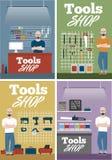 Bandera de la tienda de las herramientas con los instrumentos Fotos de archivo