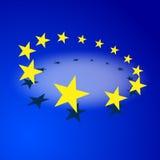 Bandera de la UE aislada en fondo azul con la sombra Imagenes de archivo