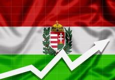 Bandera de la UE Hungría con la flecha ascendente Fotografía de archivo libre de regalías