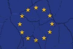 Bandera de la UE machacada y agrietada Fotos de archivo