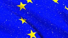 Bandera de la UE que agita con nieve almacen de video