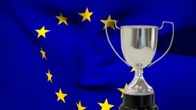 Bandera de la UE y del trofeo almacen de metraje de vídeo
